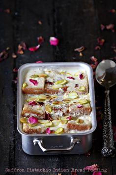 nice nice Saffron Pistachio Indian Bread Pudding with Rose Petals www. Indian Dessert Recipes, Indian Sweets, Sweets Recipes, Whole Food Recipes, Cooking Recipes, Indian Recipes, Indian Snacks, Milk Recipes, Indian Pudding