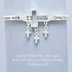 "$7.99 Sale #cybermonday #stockingstuffer Amazon.com: Designer Inspired Silver Cross Religious Bracelet, Stretch, Bible Verse, Matthew 4:19. Size : 1 1/4"" H, 2 3/4"" D: Everything Els..."