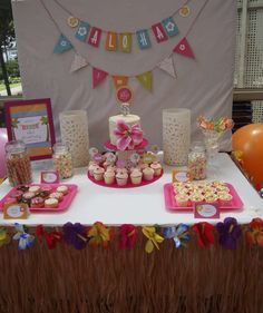 Hawaiian luau party dessert table!  See more party planning ideas at CatchMyParty.com!