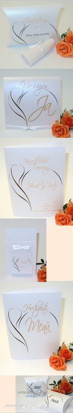 Edle Hochzeitseinladung, Hochzeitseinladungsbox, Kirchenheft zur Hochzeit, Menükarte für die Hochzeitstafel, Gast- und Dankgeschenke für die Gäste. Alles im gleichen Design. Professionelles Layout für eure Texte!