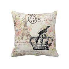 vintage pink floral ryal crown paris decor Pillow