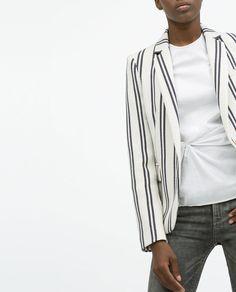 Image 2 of STRIPE TEXTURED BLAZER from Zara