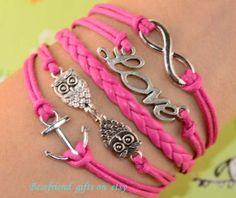 Hand woven bracelet with leather bracelet by Bestfriendgiftshop, $4.99