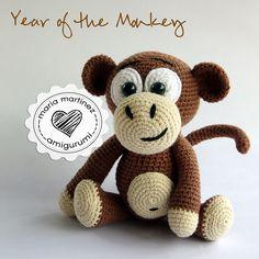 Year of the Monkey. Crochet. {Maria Martinez Amigurumi} Link to pattern -- Enlace al patrón #crochet #amigurumi #pattern