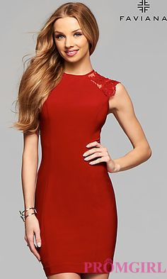 fa9abfdc32d0 Faviana Short High Neck Homecoming Dress at PromGirl.com Holiday Dresses