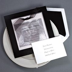 Invitation with black and white picture of Bride/Groom