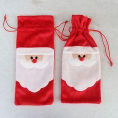 New Merry Christmas Santa Wine Bottle Bag Cover Xmas Dinner Party Table Decor Easy Christmas Ornaments, Merry Christmas Santa, Christmas Gift Bags, Christmas Crafts, Merry Xmas, Holiday Gifts, Xmas Table Decorations, Decorated Gift Bags, Xmas Dinner