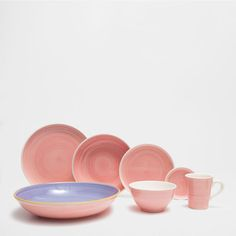 Pink swirly earthenware tableware