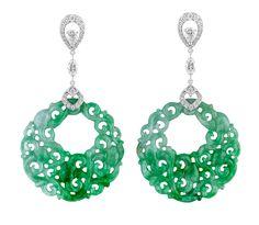 Green Jade round disc drop earrings / David Marshall London
