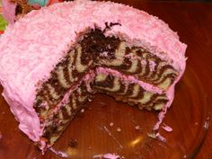 FUN, super EASY zebra cake.  I loved how it turned out!