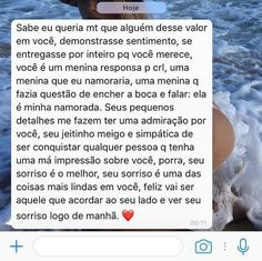 Queria receber essa mensagem I Need A Boyfriend, Romantic Messages, Simply Life, Unrequited Love, Daily Thoughts, Love Of My Life, Texts, Love Quotes, Humor