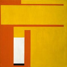 Bruno Munari, Negativo-positivo giallo-rosso, 1951, acrilico su tela, 100 x 100 cm. Collezione Intesa Sanpaolo