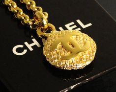Vintage CHANEL Gold Logo Weaved Necklace 1980s by fashionsquid