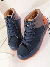 Splicing color lace-up fashion all matching high shoes  $ 11.61