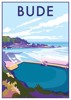 Bude vintage style travel poster and seaside print forms part of the British Coastlines travel art collection. Created by Devon Artist Becky Bettesworth. Posters Uk, Railway Posters, Poster Prints, Bude Cornwall, North Cornwall, Cornwall England, Yorkshire England, Yorkshire Dales, North Wales