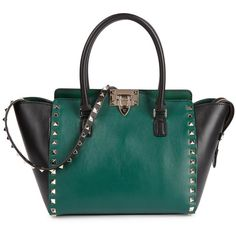 Womens Shoulder Bags Valentino Rockstud Two-tone Leather Tote ($2,010) ❤ liked on Polyvore featuring women's fashion, bags, handbags, tote bags, genuine leather tote, leather tote purse, leather tote, handbags totes and leather handbags