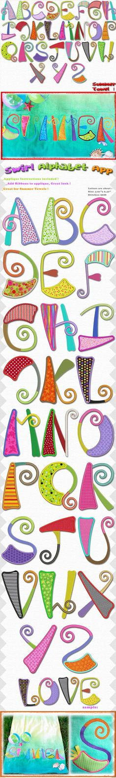 A beautiful set of applique letters, great size and very fun looking, great for summer !!! Mix and match fun bright color fabrics, for that unique look !  4x4 and 5x7 hoop sizes included.