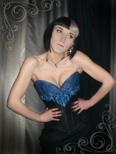 Black Taffeta & Blue Brocade Victorian Scroll by staniliev on Etsy, €120.00