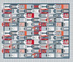 Tin Pot Owl-Bot Cheater Quilt fabric by spellstone on Spoonflower - custom fabric