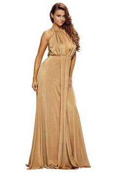 Summer Elegant Black/Camel Silky Sexy Jewel Halter Jersey Long Maxi Dress Women LC60019
