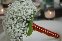 """Baby's breath bridal bouquets would look great with 1/8"""" ribbon matching each dress, woven through out, to give a hint of color. It will look like we chose it this way, cause we like the look, not just trying to be cheap."""