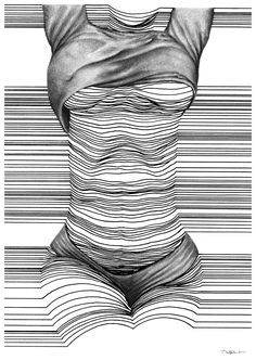 Nester Formentera - Semblance Contour Line Art, Contour Drawing, 3d Art Drawing, Abstract Pictures, Figure Photography, Art Photography, Amazing Drawings, Op Art, Woman Drawing