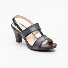 Sandalias de tacón, cuero Negro y gris Tacón: 8 cm