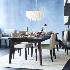 """$699 Angled-Leg Expandable Table #westelm 42""""sq. x 30""""h; two drop-in leaves expand to 66"""" and 90""""w. Paired with wood tiled buffet"""