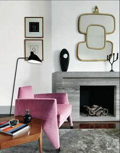 Eclectic Style living room in Mauve and Silver Gray