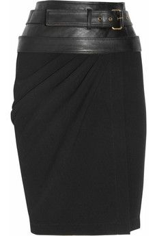 Leather-trimmed wool-crepe skirt by Donna Karan