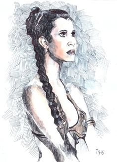 """Ink sketch I did of her as Princess Leia from What's What's sad year :("""" Nottingham, Carrie Fisher, Princess Leia, Star Wars, Sketches, Portrait, Drawings, Painting, Art"""