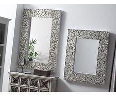 Espejo de madera de abeto Texture – plateado