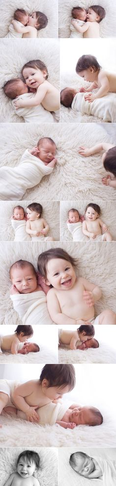 """This is hilarious to me. I especially love the first pic of big bro eating his sibs' face. The picture in the middle where big is happy and little looks like """"why the he!! are you ruining my nap for this sh?"""" And all the pics where big is smothering the baby, LOL. My nephew will be doing this to his brother."""