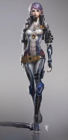 Robot Pilot Girl Concept by *Zeronis # cyberpunk, robot girl, cyborg, futuristic, android, sci-fi, science fiction, cyber girl, digital art