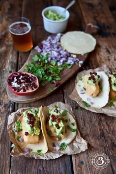 Beer Battered Fish Tacos with Pomegranate Guacamole