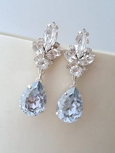 Bridal earringsLight Blue chandelier earringsDusty blue