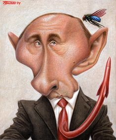 by Walter Toscano Vladimir Putin, Funny Face Drawings, Funny Faces, Funny Caricatures, Celebrity Caricatures, Caricature Drawing, Comic Drawing, Famous Cartoons, Funny Cartoons