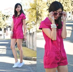 Sporty Spice (by Gillian Uang) White Sneakers, Hot Pink, Spice, Sporty, Rompers, Shirt Dress, Dresses, Fashion, White Tennis Shoes