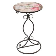 Wooden/metal side table with roses