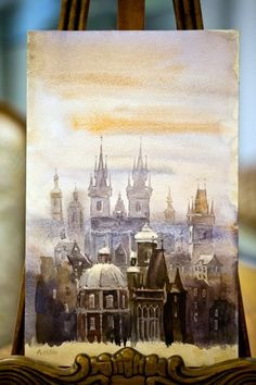 Adolf Hitler painting - Prague  in fog