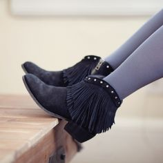 Minnetonka Stuedded Suede Fringe Booties SO cute and perfectly on trend! Like new condition, only worn one time. No trades!! 04111680gwb Minnetonka Shoes Ankle Boots & Booties