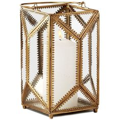 Two's Company Filigree Lantern ($83) ❤ liked on Polyvore featuring home, home decor, candles & candleholders, gold, two's company and faceted lantern