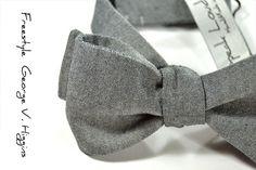 Wedding Mens Bow Tie George V Higgins II black grey by speaklouder, €37.00