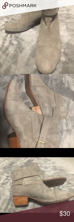 Grey Suede ankle boots Barely worn ankle boots with 1.5 inch heel and buckle accent. EUR size 41. Perfect for this winter weather ❄️ mister Zimi Shoes Ankle Boots & Booties