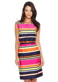 Can't get enough of bright colors this season! TAHARI ARTHUR S. LEVINE Sleeveless Shift Dress with Belt