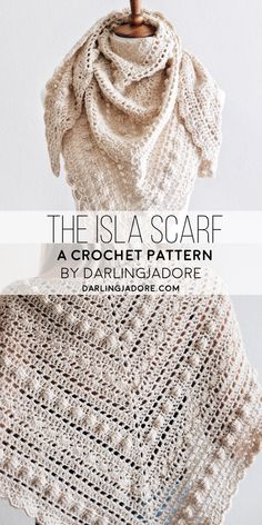 Crochet A Vintage-Inspired Lacy Shawl Scarf A Crochet Pattern By Darling Jadore shawlcrochetpattern Crochet A Lacy Shawl Scarf Beautiful Vintage-Inspired Scarf Crochet Pattern Triangle Scarf The Isla Scarf DarlingJadore Crochet Shawls And Wraps, Crochet Scarves, Crochet Clothes, Knit Crochet, Shawl Patterns, Easy Crochet Patterns, Vintage Crochet Patterns, Crochet Unique, Crochet Triangle Scarf