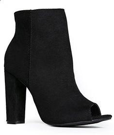 Peep Toe High Heel Boot - Sleek Leather Ankle Bootie - Cl
