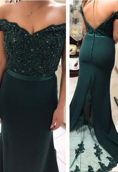 Off The Shoulder Evening Gowns,Mermaid Prom Dresses,Emerald Green Prom Dresses by prom dresses, $163.00 USD