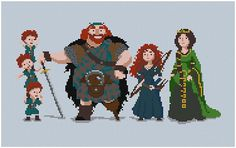 This Brave family portrait. | 21 Cross Stitch Patterns Every Disney Fan Will Want To Try