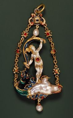 Pendant with Fortuna, Probably Alfred André (French, 1839–1919), Artist: Unknown (Italian, Ferrara) or  German (active 1521–1540, Nuremberg), 1859–1907,  enameled gold, baroque pearl, rubies and diamonds.  H. 12.5 cm; w. 5 cm